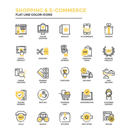 Set of Modern Flat Line icon Concept of shopping, e-commerce, m-commerce, delivery,  use in Web Project and Applications. Vector Illustration Vectores
