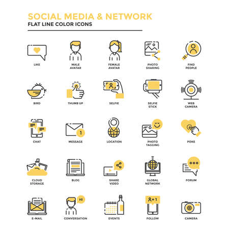 technology: Set of Modern Flat Line icon Concept of Social Media and Network use in Web Project and Applications. Vector Illustration