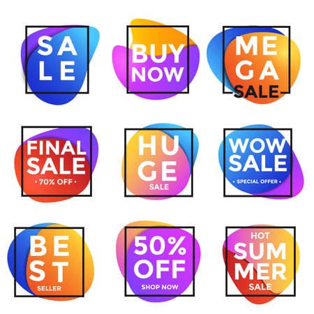 info: Vivid Collection of Sale Discount Styled Banners, Labels, Tags, Emblems. Modern abstract bubbles and shapes. Modern vivid colors and simple shapes, lines, stripes, circles. Vector Illustration Illustration