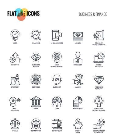 Conjunto de línea plana Icono de negocios y finanzas adecuado para conceptos móviles, aplicaciones web, medios impresos y proyectos de infografía. Ilustración vectorial
