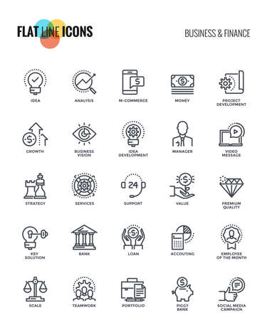 Set of flat line Business and Finance icon suitable for mobile concepts, web application, printed media and infographics projects. Vector Illustration Ilustração