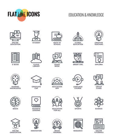Set of flat line Education and Knowledge icons suitable for mobile concepts, web application, printed media and infographics projects. Vector Illustration