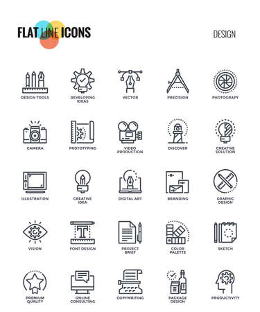 Set of flat line Graphic design icon suitable for mobile concepts, web application, printed media and infographics projects. Vector Illustration