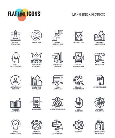Set of flat line Marketing and Business icons suitable for mobile concepts, web application, printed media and infographics projects. Vector Illustration