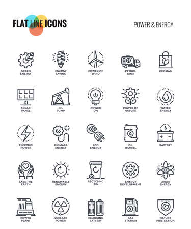 Set of flat line Power and Energy icons suitable for mobile concepts, web application, printed media and infographics projects. Vector Illustration Reklamní fotografie - 86087425