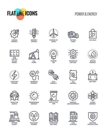 Zestaw ikon płaskiej linii zasilania i energii odpowiednich dla koncepcji mobilnych, aplikacji internetowych, mediów drukowanych i projektów infografiki. Ilustracji wektorowych