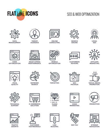 Set of flat line SEO and Web optimization icons suitable for mobile concepts, web application, printed media and infographics projects. Vector Illustration