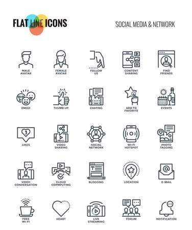 Set of flat line Social media and Network icons suitable for mobile concepts, web application, printed media and infographics projects. Vector Illustration