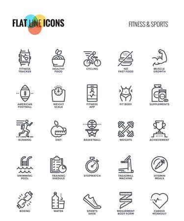 Conjunto de iconos de fitness y deportes de línea plana adecuados para conceptos móviles, aplicaciones web, medios impresos y proyectos de infografía. Ilustración vectorial