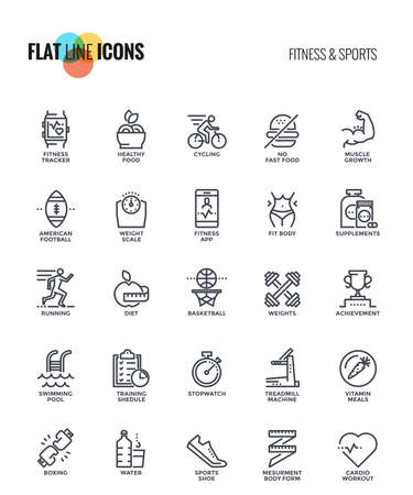 Set of flat line Fitness and Sports icons suitable for mobile concepts, web application, printed media and infographics projects. Vector Illustration