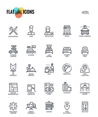 Set of flat line Hotel services icons suitable for mobile concepts, web application, printed media and infographics projects. Vector Illustration