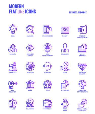 Conjunto de moderna línea plana de degradado Iconos de negocios y finanzas Foto de archivo - 87212551