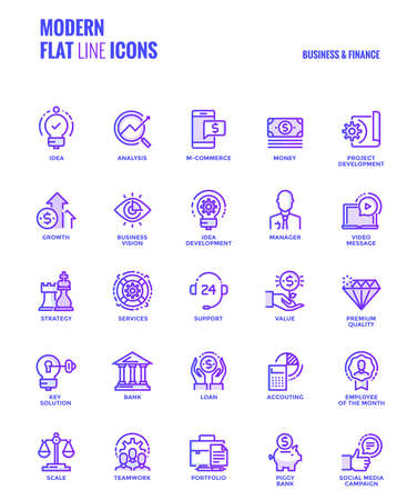 Set of Modern Gradient flat line Business and Finance icons