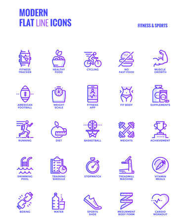 Set of Modern Gradient flat line Fitness and Sports icons