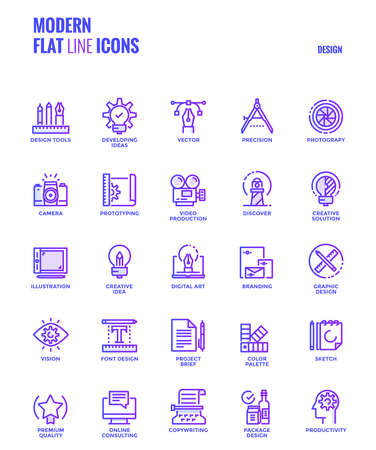 Set of Modern Gradient flat line Graphic design icons Illustration