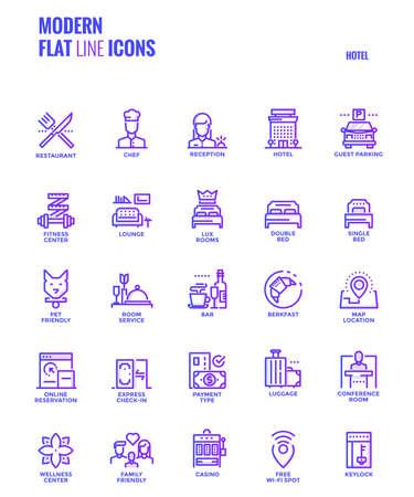 Set van moderne platte lijn lijndiensten pictogrammen Stock Illustratie