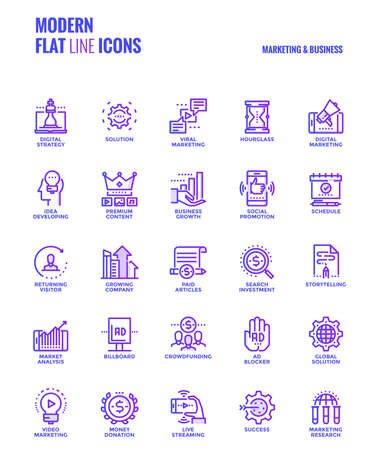 Set of Modern Gradient flat line Marketing and Business icons