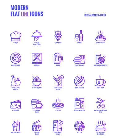 Set of Modern Gradient flat line Restaurant and Food icons Illustration