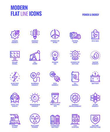 Conjunto de línea plana de degradado moderno Iconos de potencia y energía Foto de archivo - 87212559