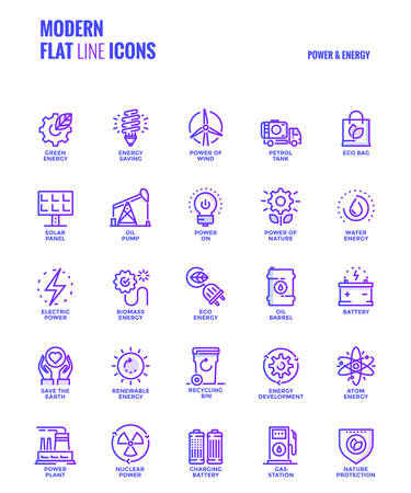 Set of Modern Gradient flat line Power and Energy icons