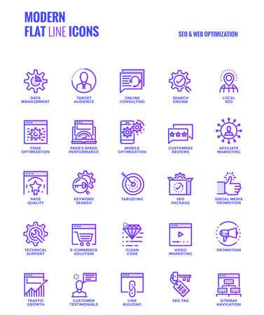 Zestaw nowoczesnych ikon gradientu płaskiej linii SEO i optymalizacji sieci Web odpowiednich dla koncepcji mobilnych, aplikacji internetowych, mediów drukowanych i projektów infografik. Ilustracji wektorowych