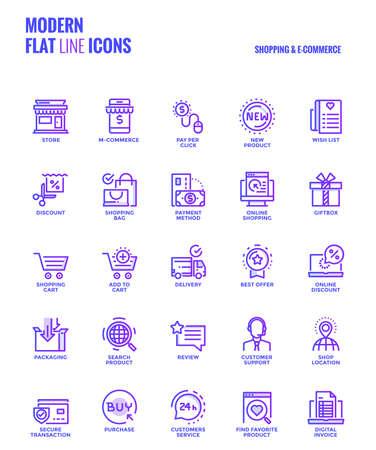 Conjunto de línea de gradiente moderno de compras y comercio electrónico iconos adecuados para conceptos móviles, aplicaciones web, medios impresos y proyectos de infografía. Ilustración vectorial Ilustración de vector