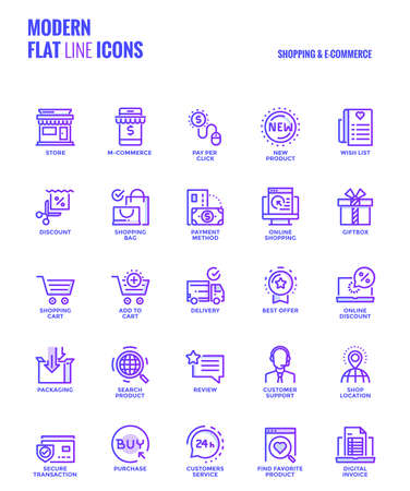 Set of Modern Gradient flat line Shopping and E commerce icons suitable for mobile concepts, web application, printed media and infographics projects. Vector Illustration