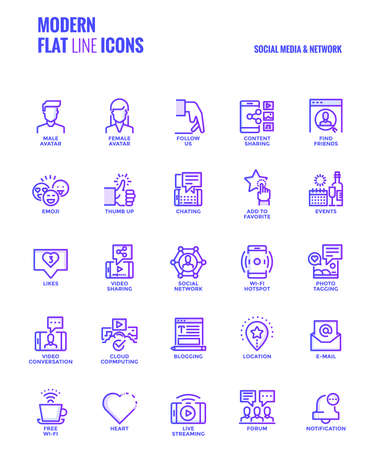 twit: Set of Modern Gradient flat line Social media & Network icons suitable for mobile concepts, web application, printed media and infographics projects. Vector Illustration