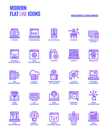 Set of Modern Gradient flat line Web design and Development icons suitable for mobile concepts, web application, printed media and infographics projects. Vector Illustration Illustration