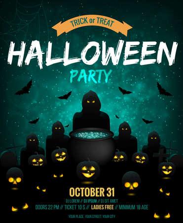 Happy Halloween Party Poster 矢量图像