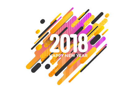 Modern styled Happy new year 2018 greeting card with composition made of various rounded shapes in actual color palette.