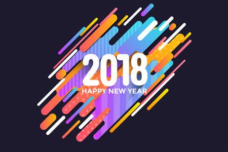 현대 스타일 행복 한 새 해 2018 인사말 카드. 일러스트