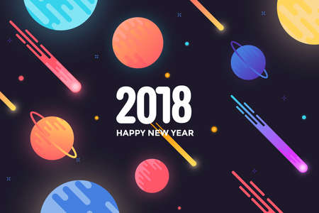 Modern styled Happy new year 2018 greeting card with composition made of various rounded shapes in neon color style.