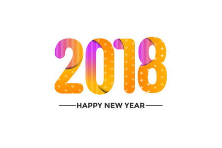 Happy New Year 2018 background. Colorful, hand drawn paper typeface on white background. Vector Illustration 向量圖像
