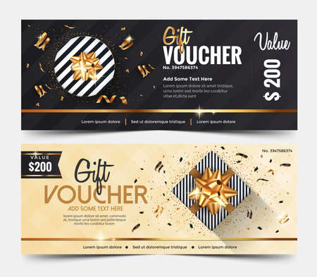 Szablon kuponu prezentowego, szablon projektu kuponu bon upominkowy, kolekcja bonów prezentowych baner wizytówkowy plakat z kartą telefoniczną. Ilustracja wektorowa