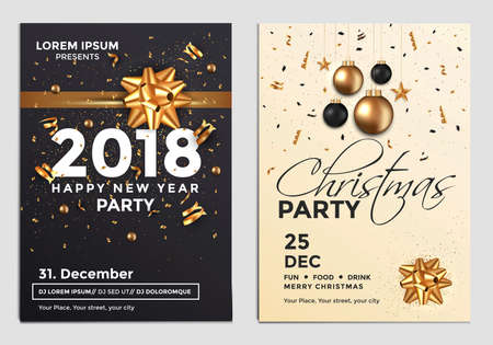 Christmas and Happy New Year Brochure Design Layout Template in A4 size with golden ornaments, gift boxes and snowflakes on dark backgroun. Party poster. Vector Illustrations