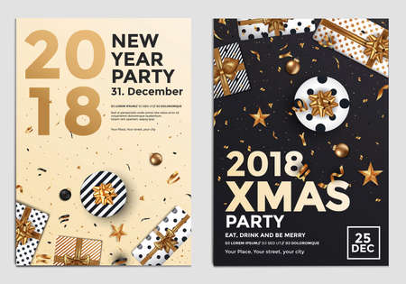 Christmas and Happy New Year Brochure Design Layout Template in A4 size with golden ornaments, gift boxes and snowflakes on dark backgroun. Abstract Modern Backgrounds, Party poster. Vectot Illustrations