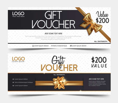 Gift Voucher Template, gift voucher certificate coupon design template.Collection gift certificate business card banner calling card poster.Vector illustration Vettoriali