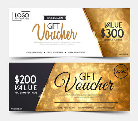 Gift Voucher Template, gift voucher certificate coupon design template,Collection gift certificate business card banner calling card poster.Vector illustration 版權商用圖片 - 90249415