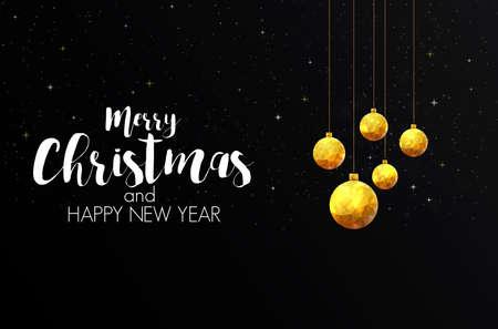 Christmas colorful greeting card design  with polygonal christmas balls.
