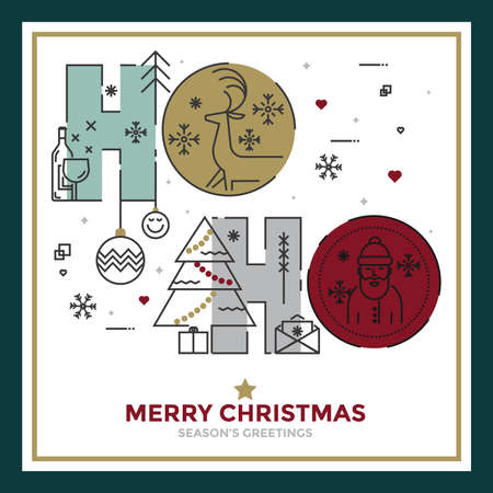 Modern Flat Line creative Christmas greeting card design. Happy holidays. Can be used as Christmas card, poster, banner, frame. Vector Illustration Illustration