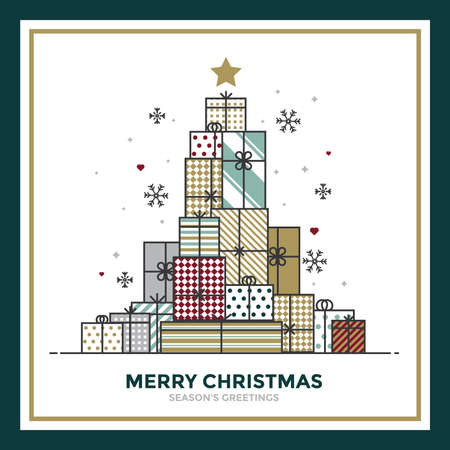 Modern Flat Line creative Christmas greeting card design. Abstract Christmas tree made of gifts, holiday theme. Can be used as Christmas card, poster, banner, frame. Vector Illustration