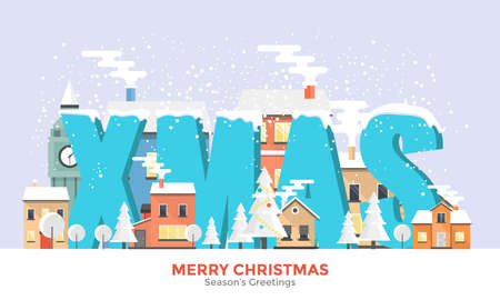 Flat Design Urban winter landscape, snowy street. Merry Christmas year banner. Vector illustration