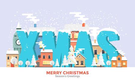 Flat Design Urban winter landscape, snowy street. Merry Christmas year banner. Vector illustration
