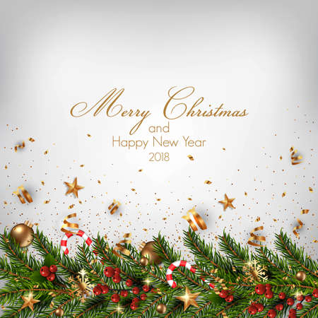 Christmas background with fir branches and Christmas ornaments. Vector illustration