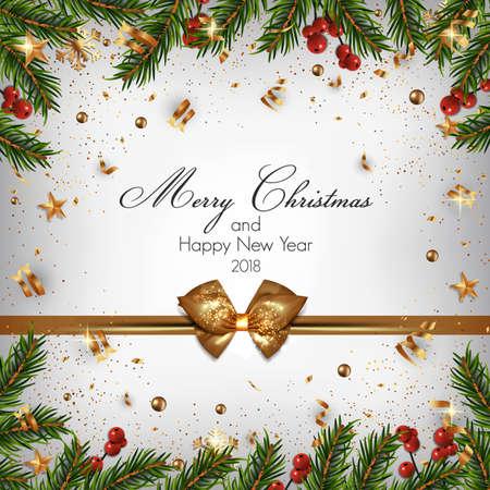モミの枝やクリスマスの装飾品とクリスマスの背景。ベクトル