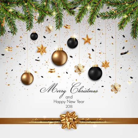 モミの枝とハギングクリスマスの装飾と金のリボンのデザインとクリスマスの背景、ベクトルイラスト  イラスト・ベクター素材