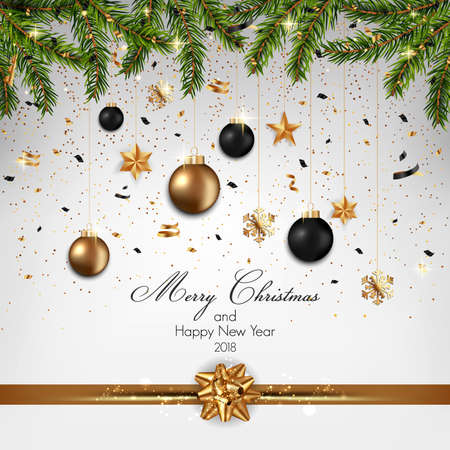 Christmas background with fir branches and haging Christmas ornaments and a gold ribbon design, Vector illustration