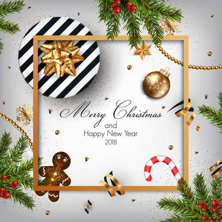 Christmas background with fir branches and Gift box. Vector