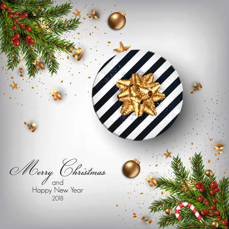 Christmas background with fir branches, baubles and Gift box. Vector